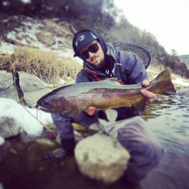 Kramer Jackson showing off another nice Rainbow Trout.