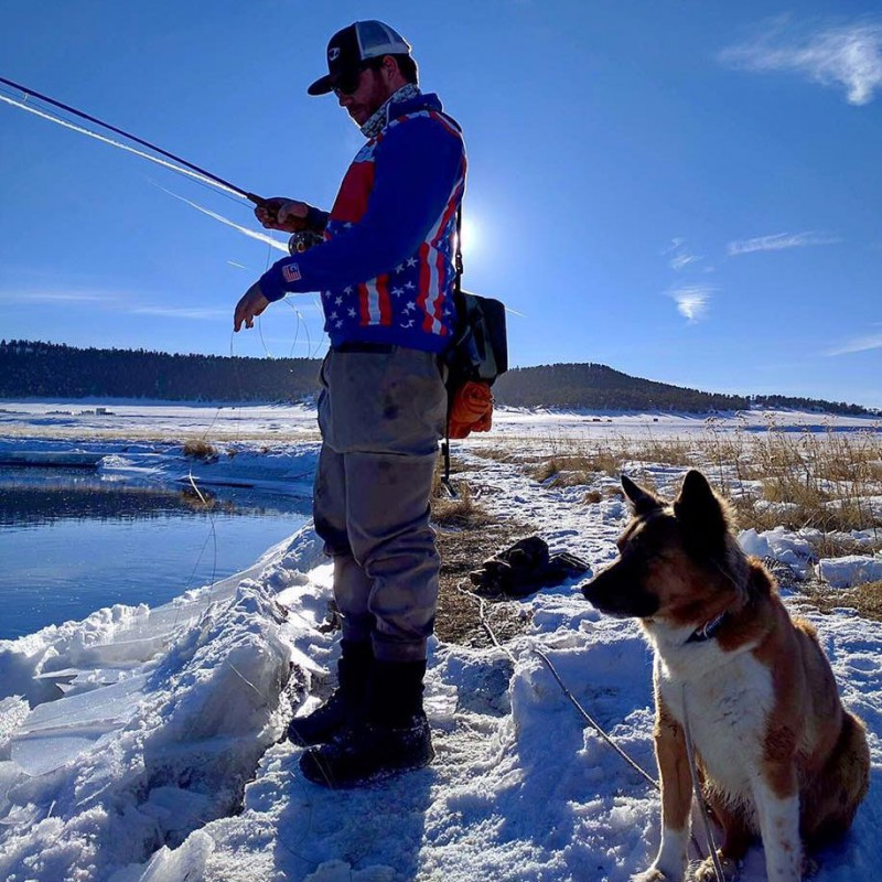 Tanner with his go-to fishing partner Gus.